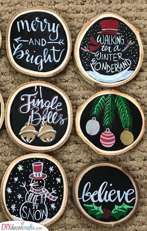Cool Christmas Coasters - DIY Christmas Gifts for Girls