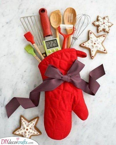 A Mitten Filled With Utensils - Perfect for Bakers