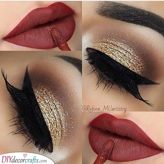 Gold and Glamorous Eyes - Christmas Party Makeup
