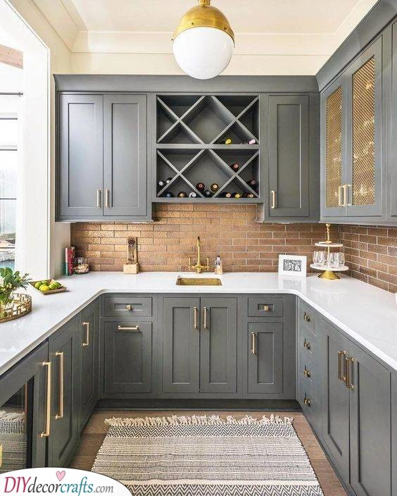 A Farmhouse Ambience - Gray Kitchen Cabinets