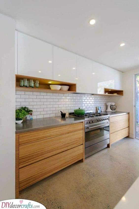 White With Wood Accents - Kitchen Cabinet Design Ideas