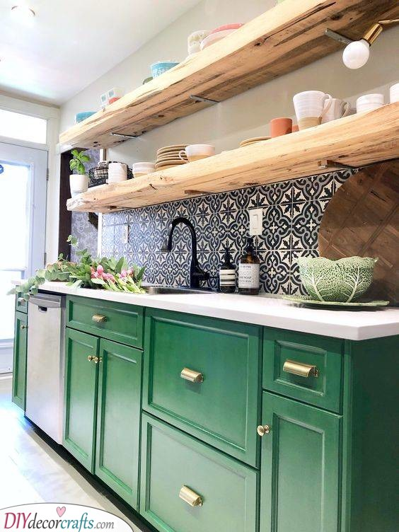 Green Cabinets and Floating Shelves - Kitchen Cabinet Ideas