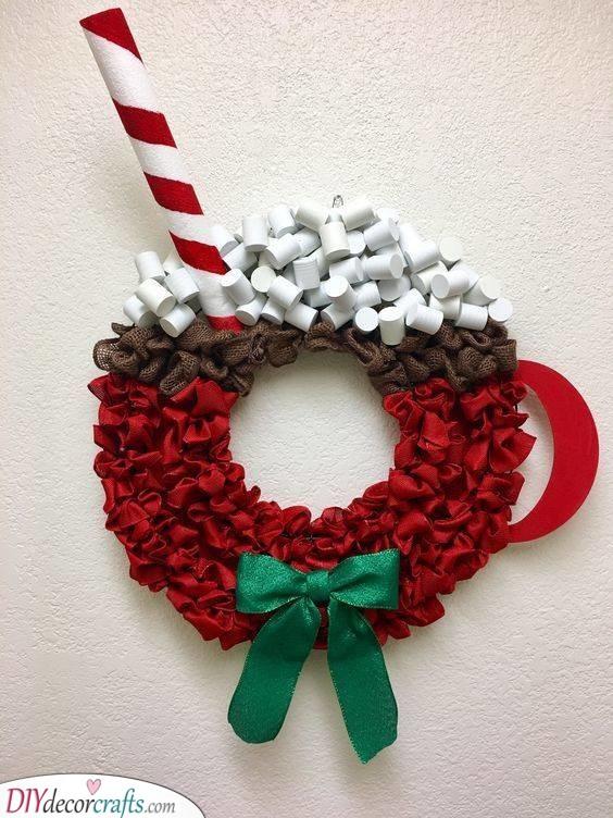 A Mug of Hot Chocolate - Winter Wreath Ideas