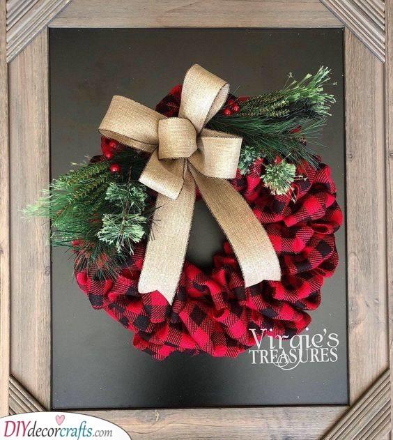 Pretty in Plaid - Unique Winter Door Wreath