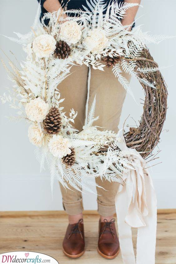 Roses and Ferns - Simple Winter Wreath Ideas