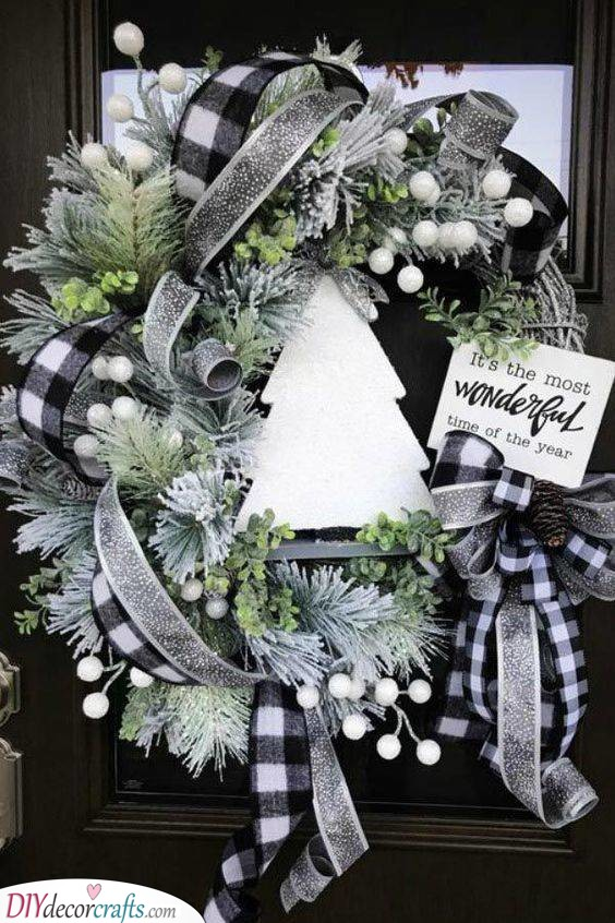 Monochrome Checkered Ribbons - Winter Door Decorations