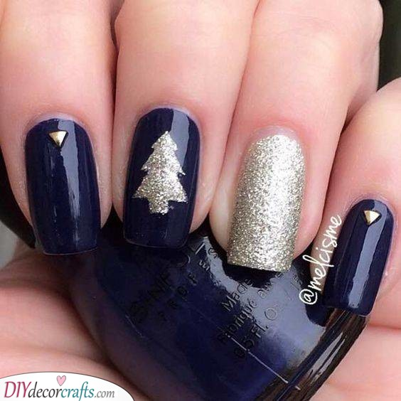 Blue and Silver - Christmas Nail Designs