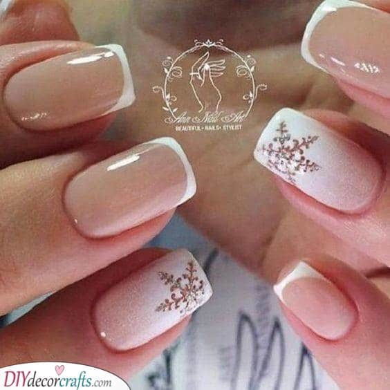 Simple and Stunning - French Manicure With Snowflakes