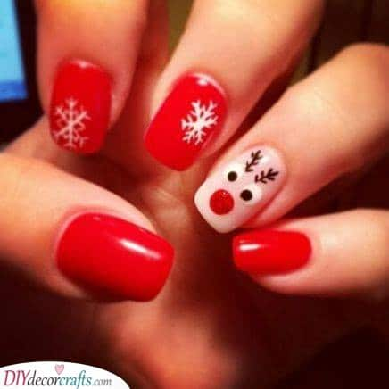 Rudolf the Red-Nosed Reindeer - Easy Christmas Nails
