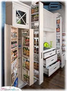 Pull-Out Shelves and Drawers - Kitchen Pantry Shelving Ideas