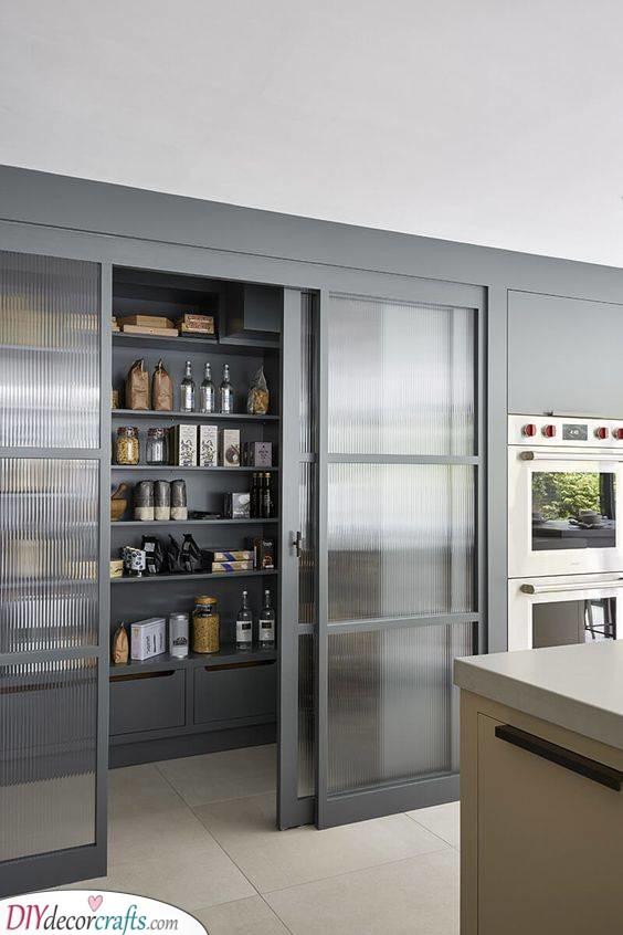 Sliding Doors - Fabulous Kitchen Pantry Shelving Ideas