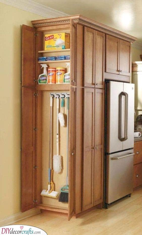 A Cleaning Cupboard - Kitchen Cabinet Storage Ideas