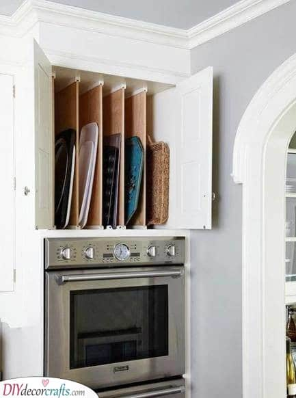 A Place for the Trays - Kitchen Cabinet Organization Ideas