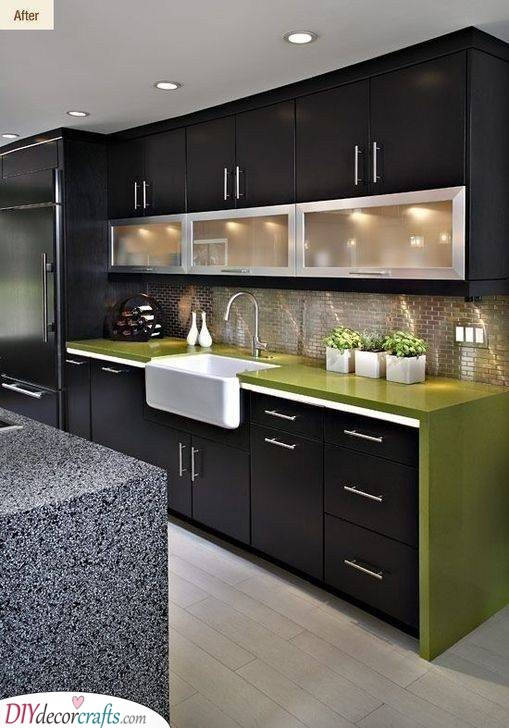 Black With Green Accents - A Chic Look