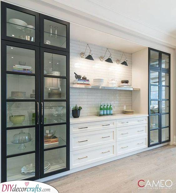 A Floating Shelf - In Between Glass Kitchen Cabinets