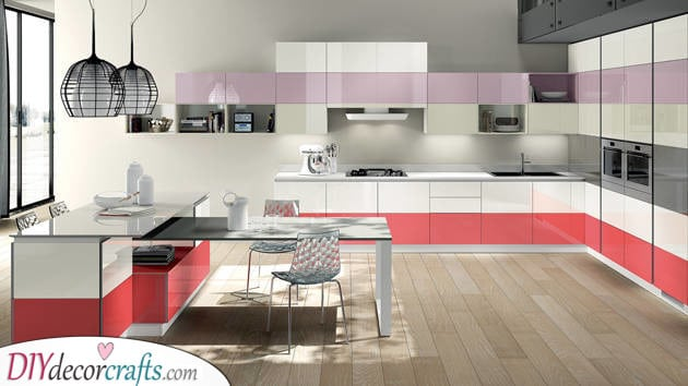 A Unique Use of Colours - Modern Kitchen Cabinets