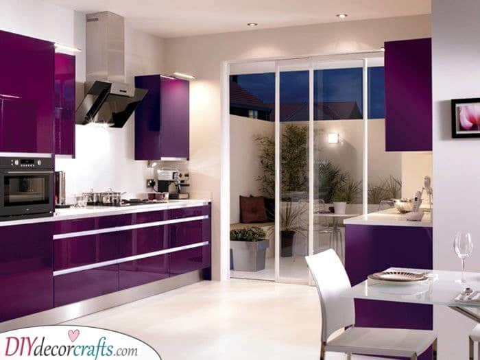 Try Out a Deep Purple - Modern Kitchen Cabinet Ideas