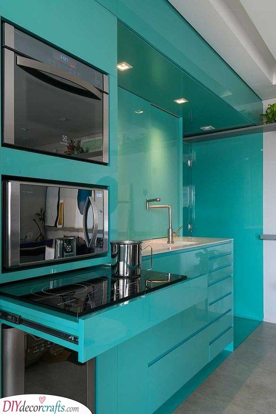 Unique in Turquoise - Modern Kitchen Cabinet Ideas