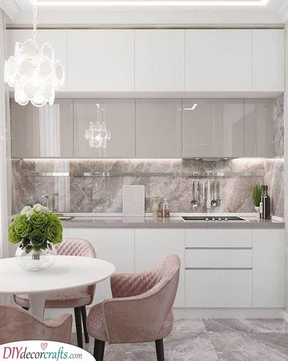 White Cabinets - With Marble Walls