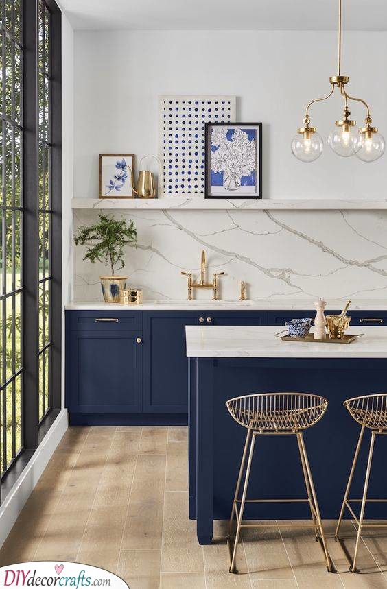 Gold and Blue - Create a Gorgeous Kitchen