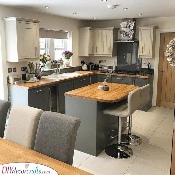 Great in Grey - Small Kitchen Island Ideas with Seating