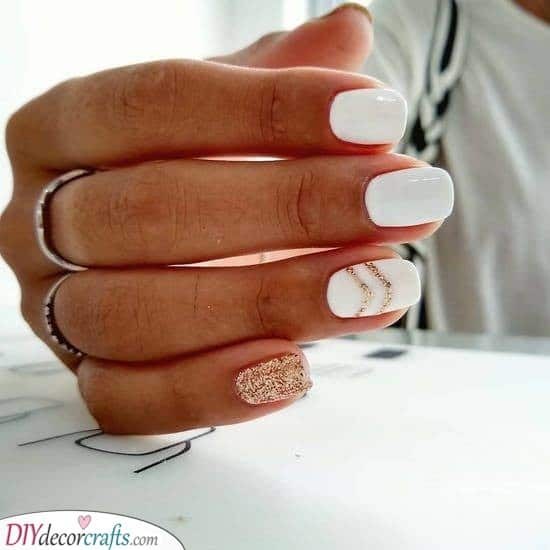 Hints of Gold - White Nail Ideas