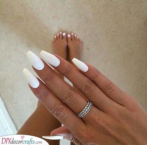 White Coffin Nails - White Nail Art