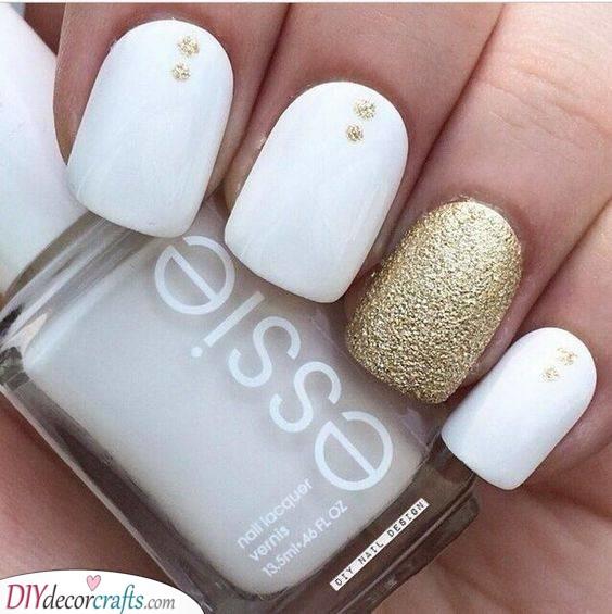 Specks of Gold - White Nail Designs