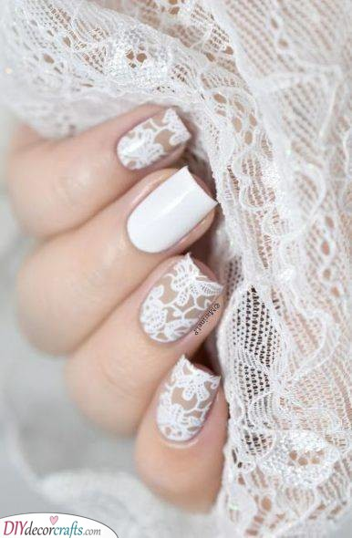Laced With Elegance - White Nail Ideas