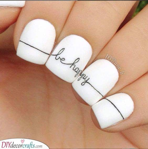 Nails With a Message - White Nail Designs
