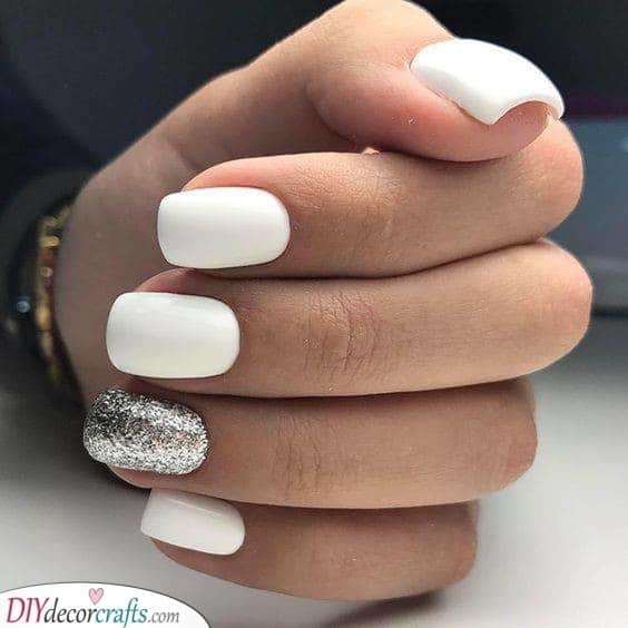 White and Silver - Cool White Nail Ideas