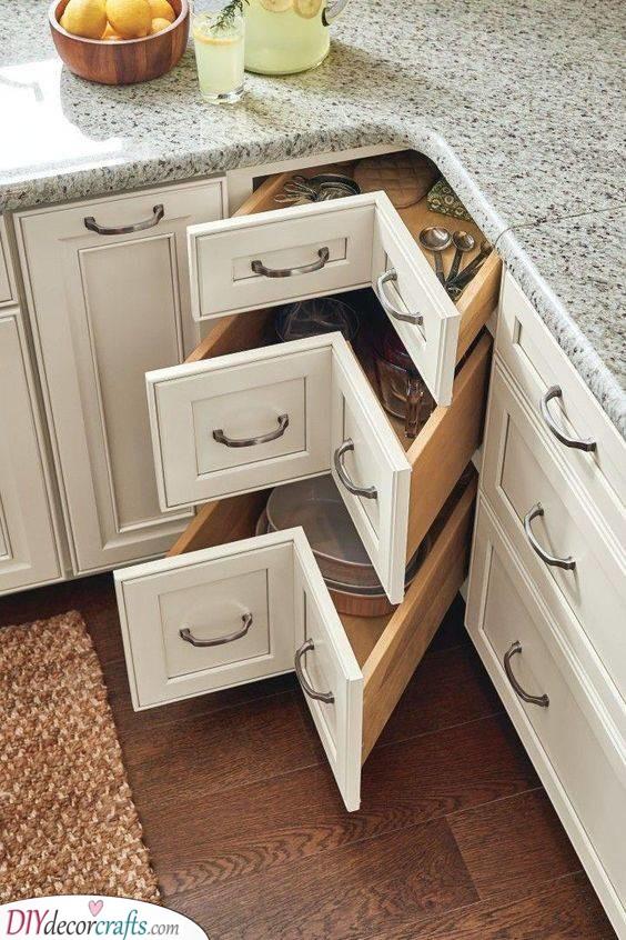 Drawers in the Corner - Corner Kitchen Cabinet Ideas