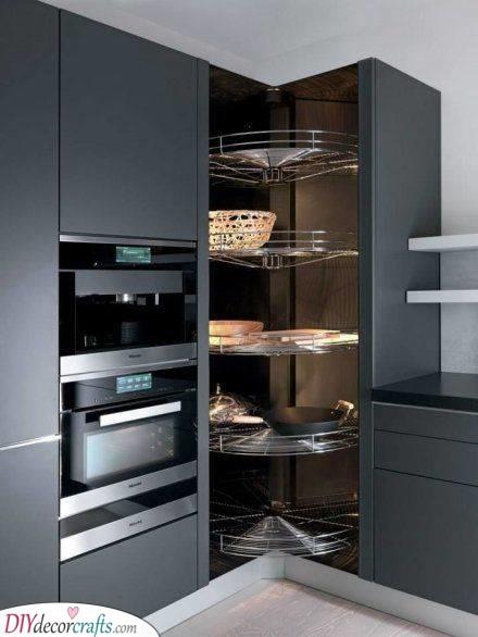 Spinning Drawers - Corner Kitchen Cabinet Ideas