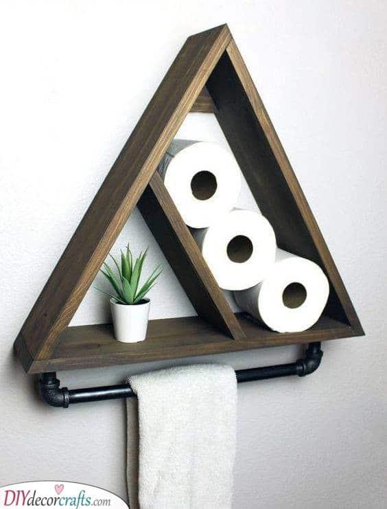 Create a Geometric Shelf - Decorative Bathroom Shelf Ideas