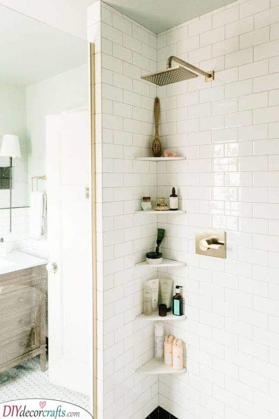 Shelves in the Corner - Decorative Bathroom Shelf Ideas