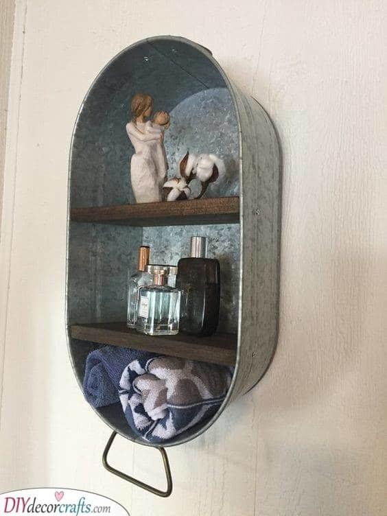 An Old Washtub - Creative Bathroom Wall Shelves