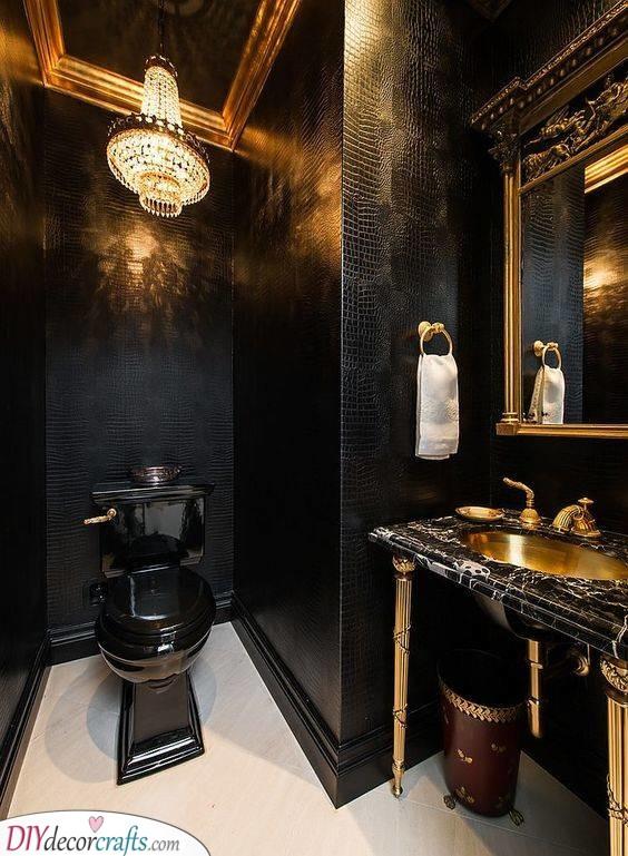 Black and Gold -Best Bathroom Design Ideas