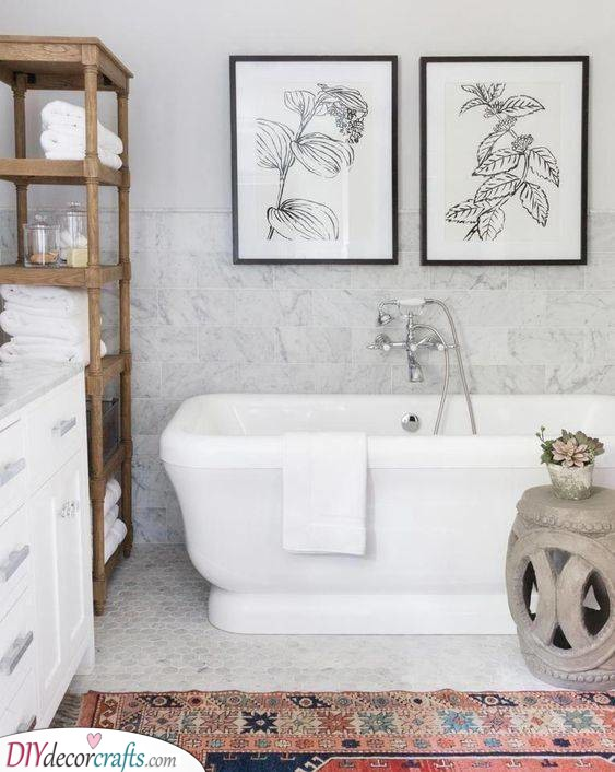 Adding Amazing Art - Simple Bathroom Ideas