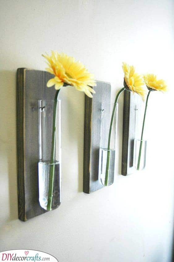 Flowers in Test Tubes - Homemade Wall Decoration Ideas