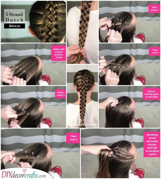 A Five Strand Dutch Braid - Little Girl Braid Styles
