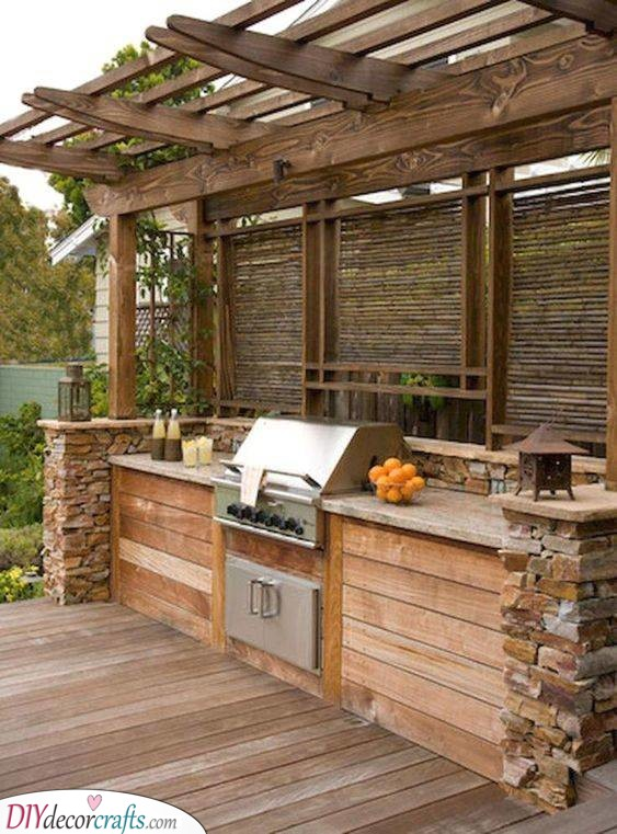 A Combination of Styles - Outdoor Kitchen Cabinet Ideas