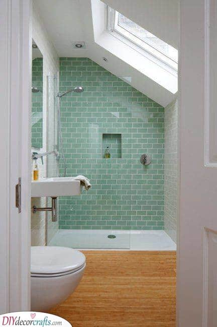 Green Tiles - With a Wooden Floor