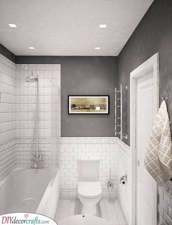 White and Grey - Small Bathroom Designs