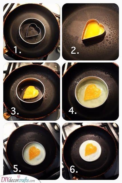 Frying an Egg - In a Heart Shape