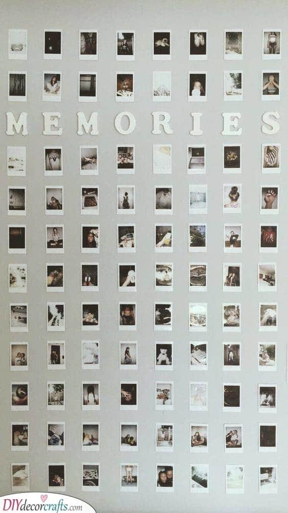 A Wall of Memories - An Array of Polaroids