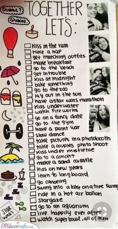 A Bucket List - A List of Things to Do