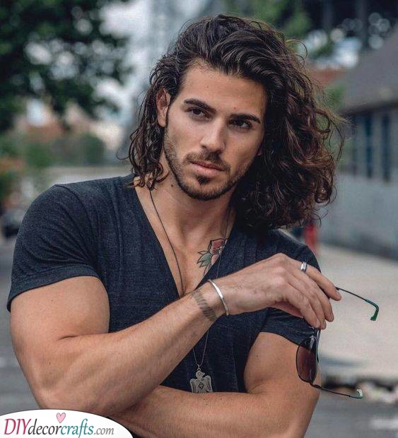Long and Elegant - Hairstyles for Curly Hair Men