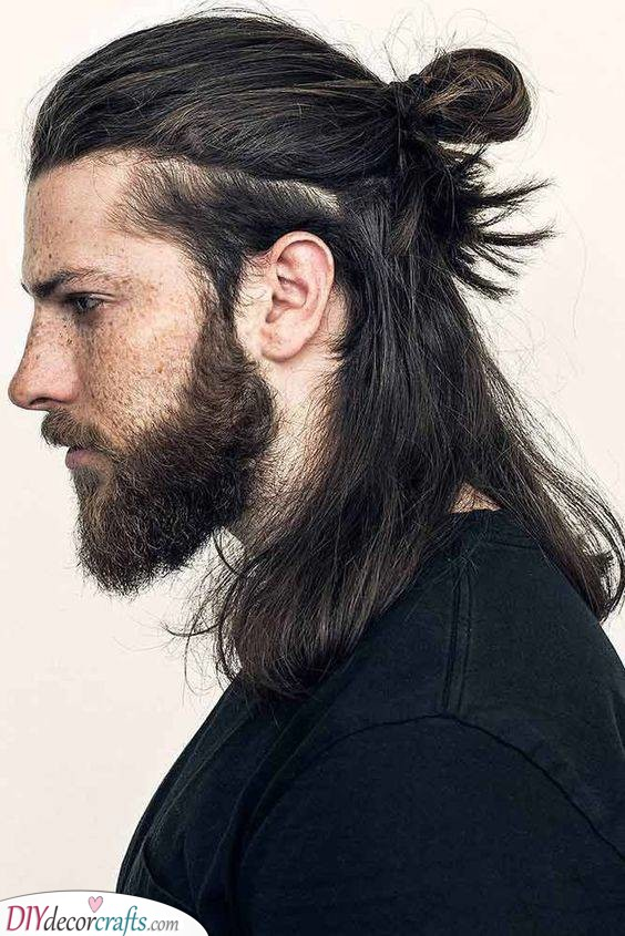 A Half Up Man Bun - Hairstyles for Men with Long Hair