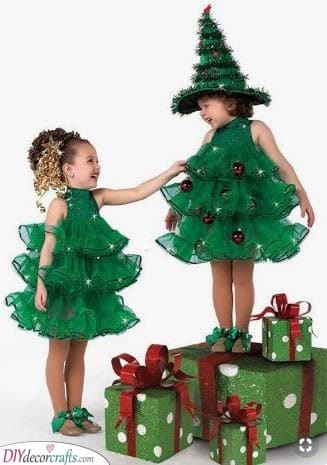 Cute Christmas Trees - Carnival Costumes for Kids