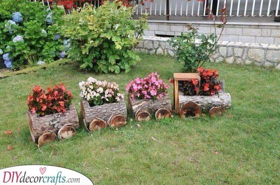 Train of Flowers - Simple Flower Bed Ideas